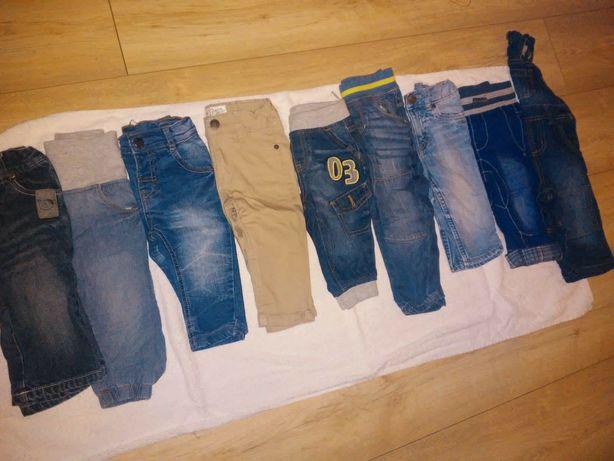 Zestaw spodni jeans dresy dla chłopca ogrodniczki 74 80