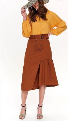 Brązowa Ruda asymetryczna spódnica z falbaną L
