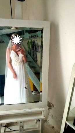 Piękna, unikatowa szyta sukienka ślubna. Dobra na S i S/M i M :)