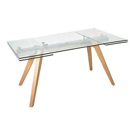 Mesa de jantar de vidro - extensível