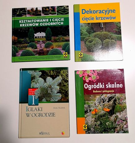 Książki do pielęgnacji ogrodu, dekoracyjne cięcia krzewów, skalniaki.