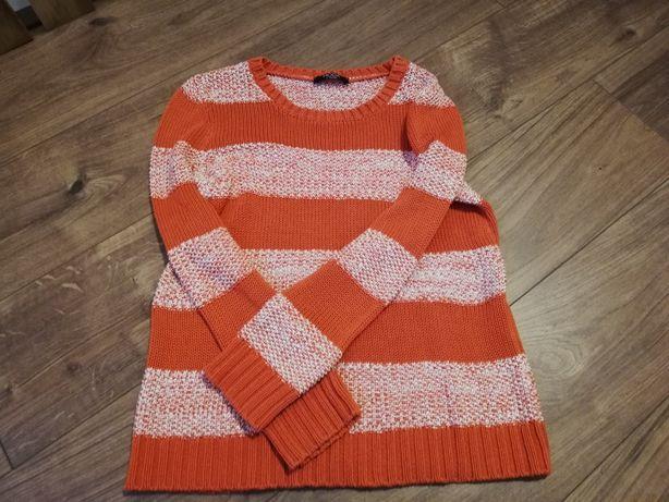 Pomarańczowo biały sweter George XL/42