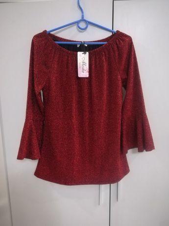 Nowa włoska czerwona bluzeczka błyszcząca idealna na święta