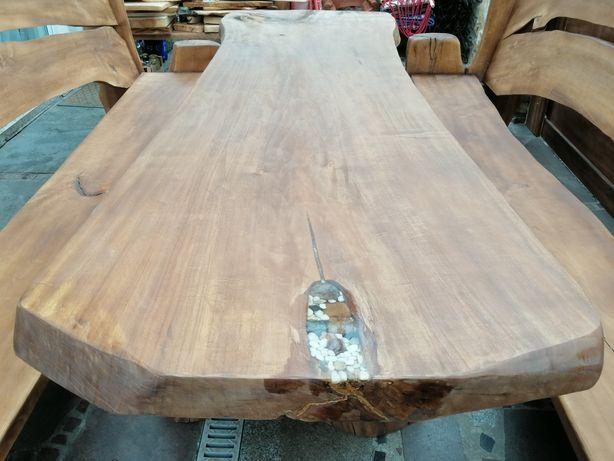 Stół 330x100x10 z jednego bala meble ogrodowe dąb jesion i inne