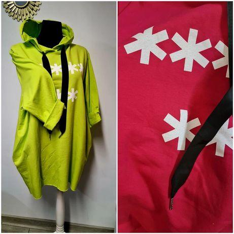 Bluza dłuższa z kapturem oversize (44-46)