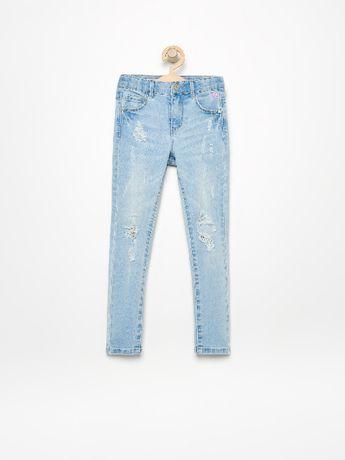 RESERVED jeansy przetarcia dziury r 128 rurki