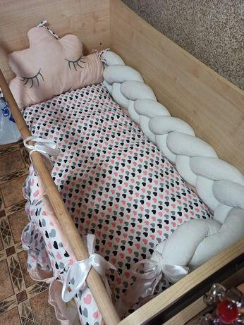 Постельное в кроватку, матрас детский, детское постельное белье,бортик