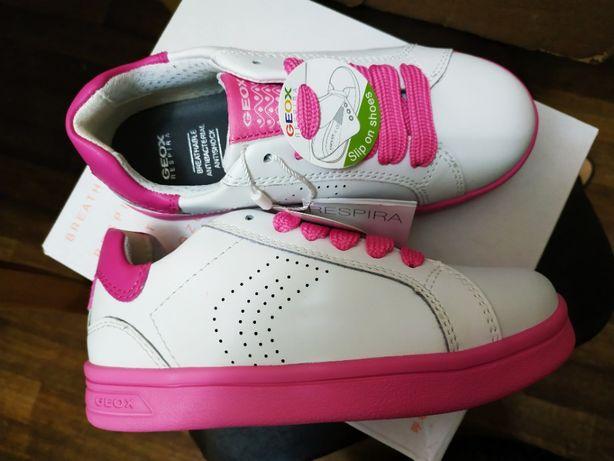 Кроссовки . кеды Geox кожаные белые с розовым на девочку
