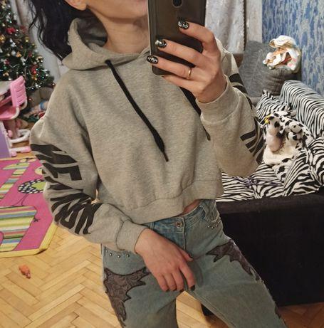 Крутой короткий фирменный реглан толстовка свитшот свитер кофта S