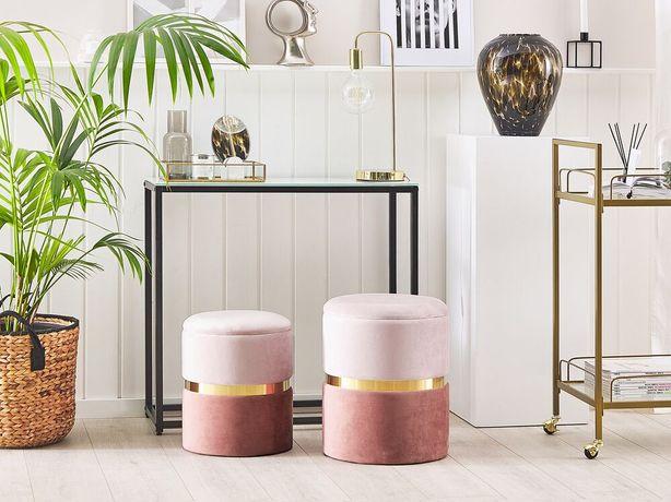 Conjunto de 2 tamboretes rosa WICHITA - Beliani