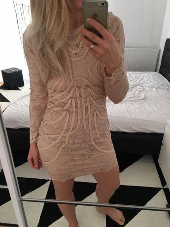 Sukienka H&M, na wesele, koronka, nude,nowa, limitowana edycja, 38, M