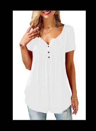Bluzka t-shirt biały z krótkim rękawem 46/48 nowy hm