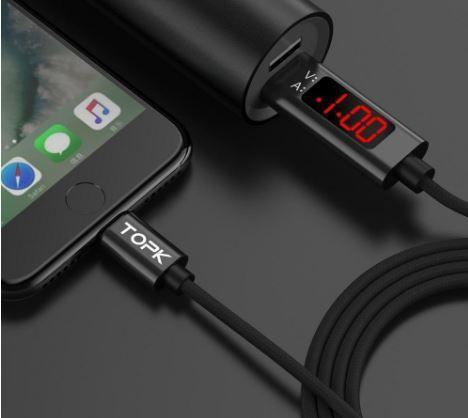Cabo indicador de voltagem iphone, micro USB Type C