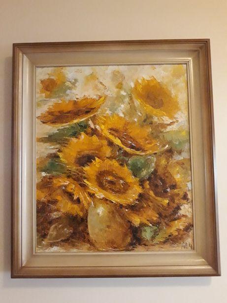 Obraz olejny płótno duży słoneczniki