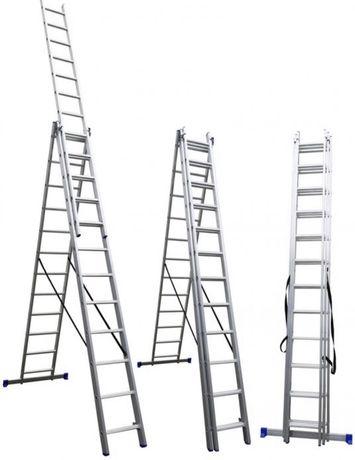 Лестница Драбина трехсекционная Стремянка раздвижная универсальная