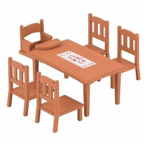 NOWE Sylvanian Families, zestaw do jadalni, stół i krzesła