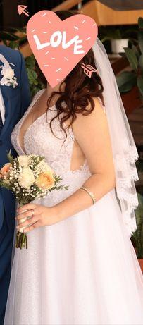 Очаровательное блестящее свадебное платье 48-50 размер
