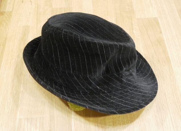 Męski Kapelusz Clockhouse rozm 57 wzór czarny w białe paski bawełna