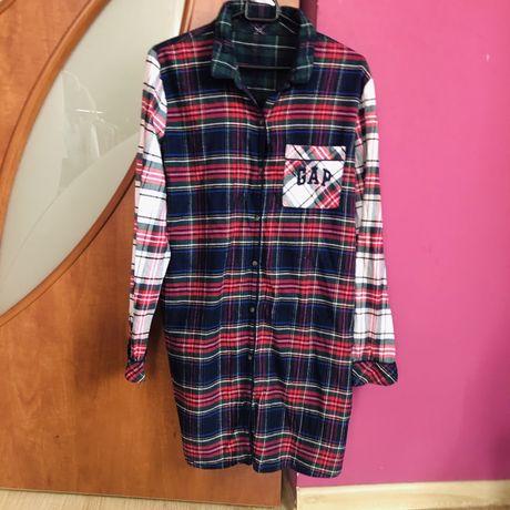 Flanelowa koszula oversize krata GAP must have outfit koszulo-sukienka