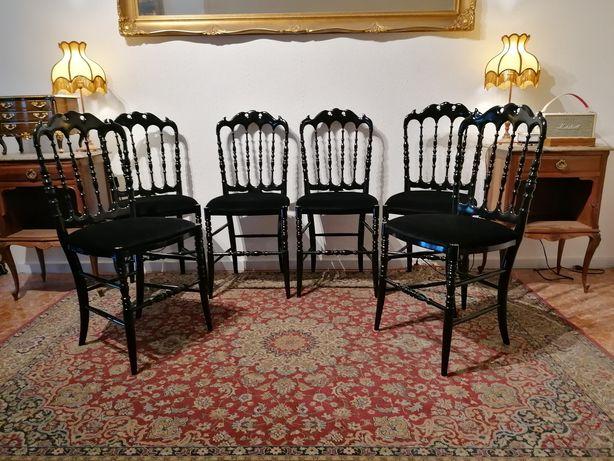 6 Seis Cadeiras Românticas. Madeira lacada preto. Estilo Luís XV