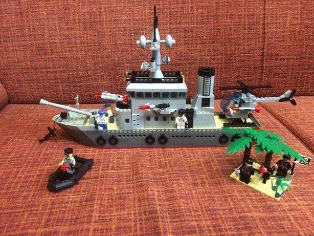 Шикарный военный корабль конструктор тип лего более 650 деталей