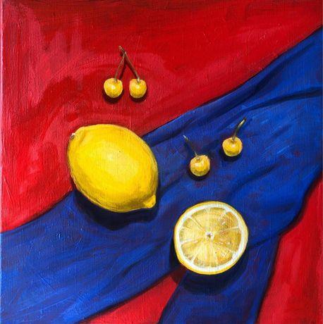 Живопись маслом «Лимоны и желтая черешня»