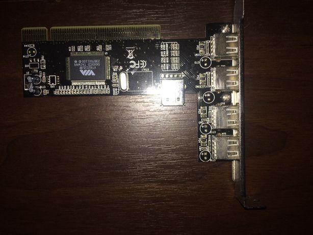 Плата з додатковими USB портами 4+1, підключається в роз'єм PCI