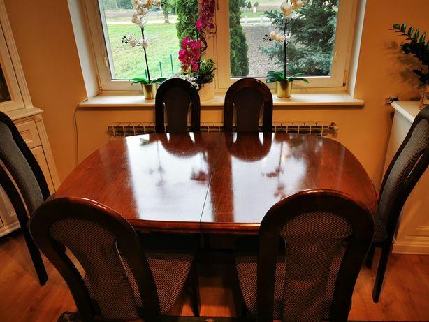 Stół owalny drewniany i 6 krzeseł