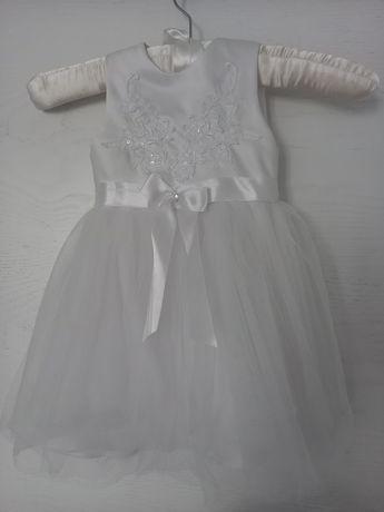Sukienka na chrzest wesele biała koronka rozmiar 80-86