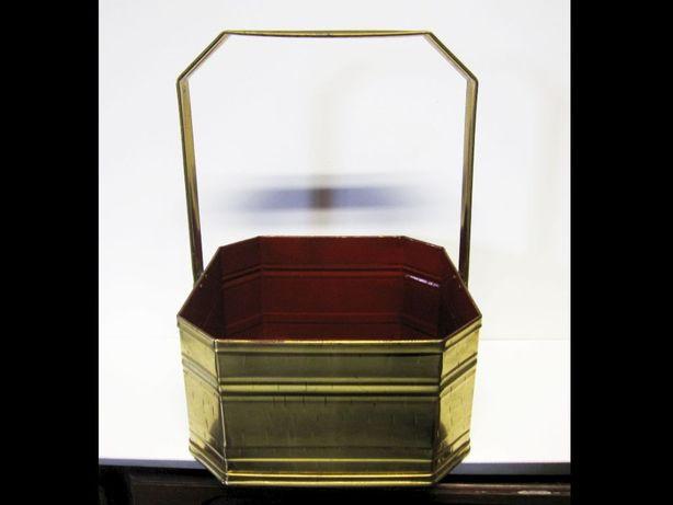 grande decorativo vintage caixa cesto em latão - marcado