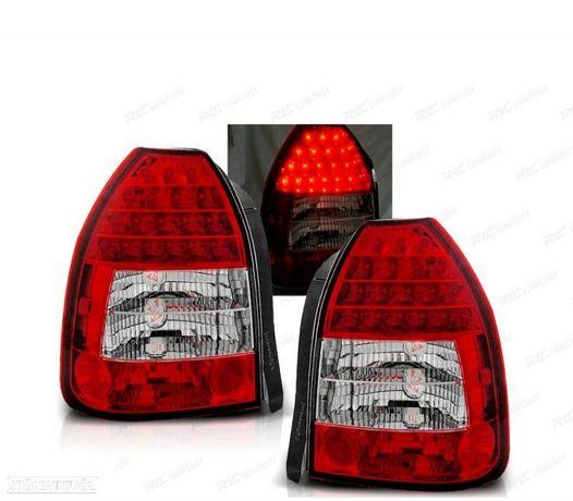 FARÓIS TRASEIROS LED HONDA CIVIC (3P) 95-01 (LDHO02) RED / CRYSTAL (VERMELHO / CRISTAL)