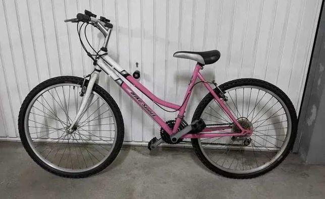 Bicicleta mulher branca/rosa - roda 26