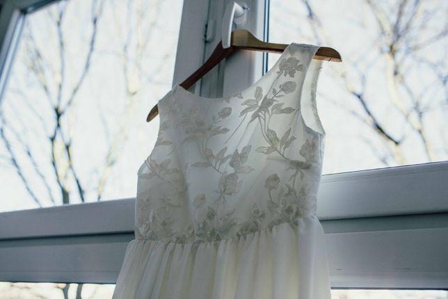 Suknia suknia ślubna długa koronka ecru może być ciążowa