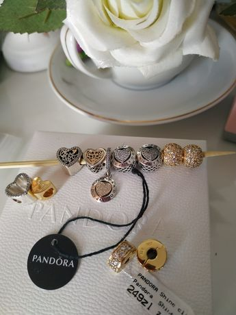 Pandora charmsy tt srebro/złoto 14k Nowe Moments