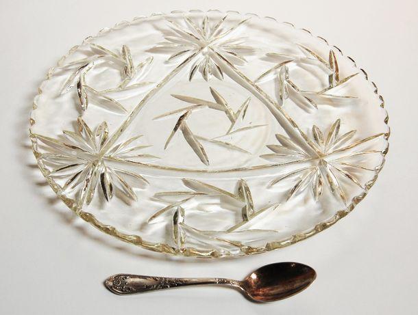 Patera na ciasto, vintage, szkło, szlif, 30 cm