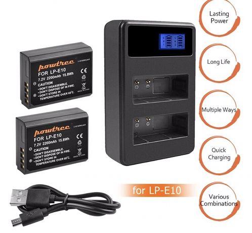 Carregador duplo + 2 baterias LP-E10 para Canon 1100/1200 T3