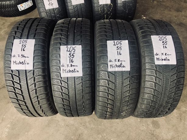 Opony zimowe 205/55/16 Michelin. 7.9mm/5.9mm, wysyłka/montaż