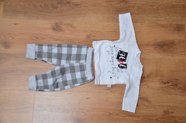 Komplet: bluzka długi rękaw + spodnie + kamizelka z kapturem 3-6 mies