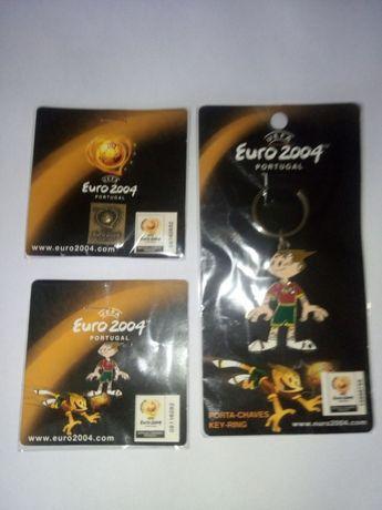 EURO 2004: 2 pins + 1 porta chave oficiais