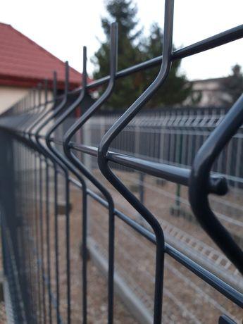 Panel ogrodzeniowy 120 cm Czarny Antracyt Siatka Slupki PODMOROWKA