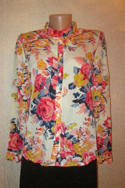 Стильна шифонова блузка, рубашка на довгий рукав, 42 розмір
