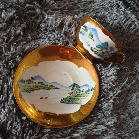Китайские чашка с блюдцем с позолотой