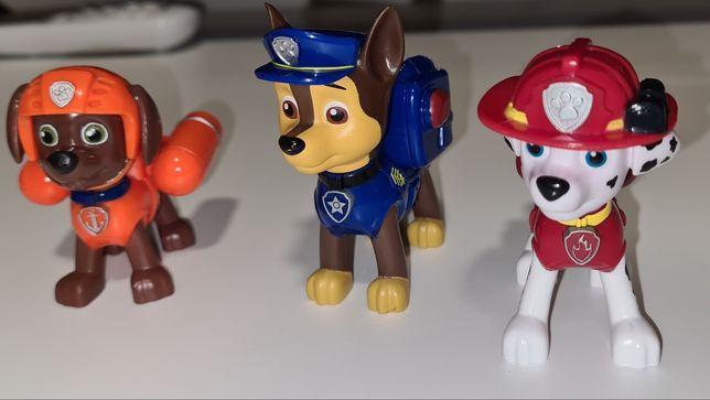 3 cães articulados Patrulha Pata Novos + 3 crachás