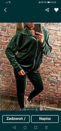 Dres welurowy damski XL zielony