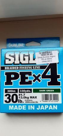 Шнур Sunline Siglon PE х4 300m (темн-зел.) #1.7/0.223 mm 30lb/13.0 kg