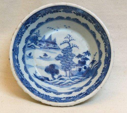 Taça china azul e branco porcelana chinesa dec paisagem; Século XVIII