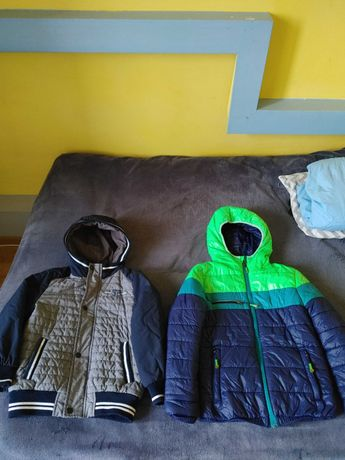 2 kurtki zimowe troz 122-128 cena 25 zł za dwie