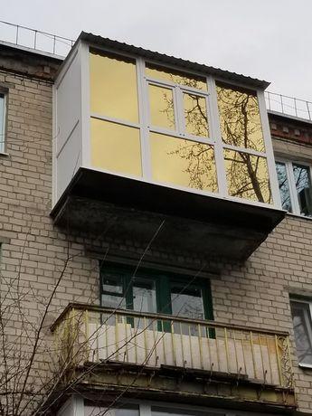 Балконные рамы под ключ, балкон с выносом
