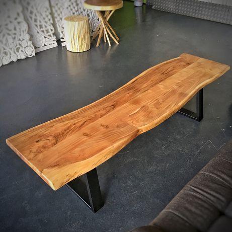 Banco Madeira Maciça Acácia e Ferro Wood Bench - by OVO Home Design