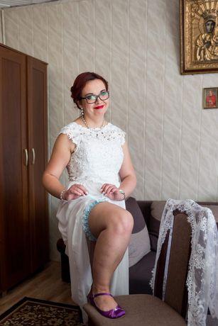 Suknia ślubna bolerko i welon